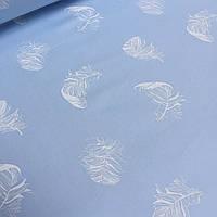 Ткань хлопковая Mist с напылением в виде белых перишок на голубом фоне  №018