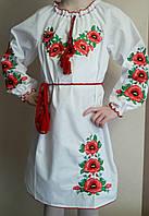 Платье для девочки вышитое маками