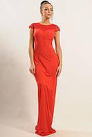 Роскошное длинное платье, кружево обрамляет плечи и полностью украшает спинку, 42-48 размеры