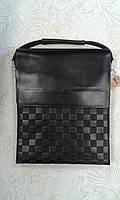 Мужская сумка черная качественная с тиснением клетка