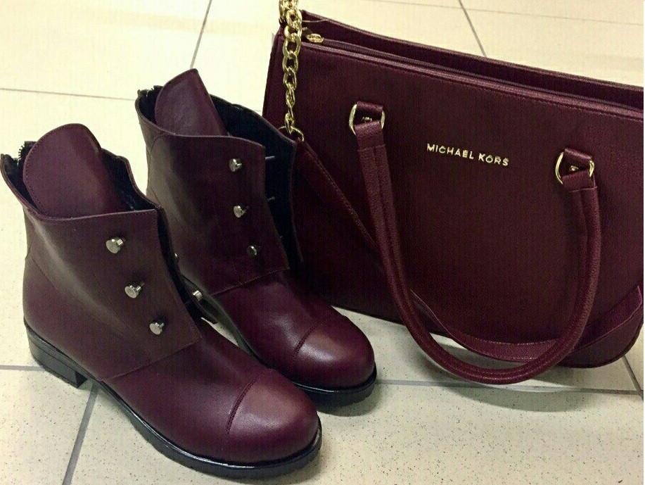 Стильные ботинки Hermes болты! женские демисезонные сапоги марсала кожа в  стиле Гермес - Trendy- f5ace0140eb