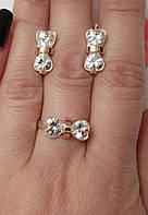 Срібний комплект з золотом і цирконієм Бантик, фото 1