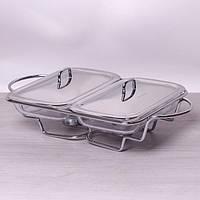 Мармит двойной стеклянный 2*1.5л с металлическими крышками и подставкой