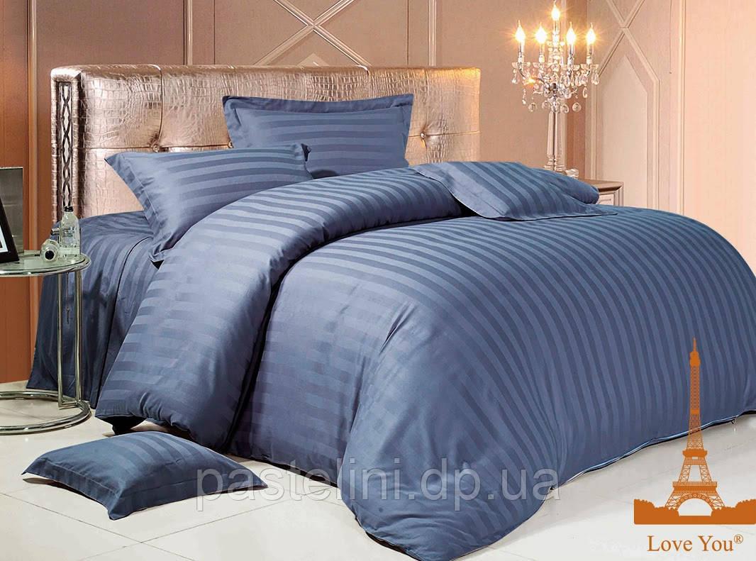 Love you  семейный комплект постельного белья сатин-страйп тём.синий