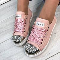 Женские кеды  натуральная кожа, подошва 2,5 см, розовые  / кеды женские  железный носок-камни, удобные