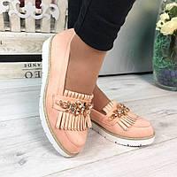 Женские туфли эко замш, цвет пудра  / туфли женские с камнями модные 2017