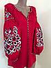 Лянна жіноча вишиванка червоного кольору (машинна вишивка)