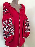 Лянна жіноча вишиванка червоного кольору (машинна вишивка), фото 1