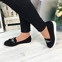 Женские туфли черные, на белой подошве, эко замш  / туфли женские с камнями модные