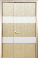 Полуторная (двустворчатая) межкомнатная дверь ФОРТИС САХАРА зеркало 2Z ПВХ DeLuxe