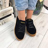 Женские криперы RIНANNA, черные, на плоской подошве 4 см, эко замш  / кроссовки женские эко замшевые, модные