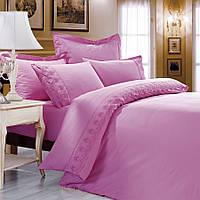 Love You  постельное бельё полуторный сатин+кружево розовый