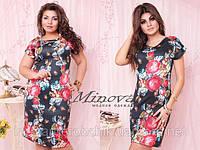 Платье цветы больших и маленьких размеров легкий дайвинг, фото 1