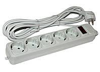 Фильтр сетевой 3.0м Maxxtro SPM5-G-10G / 5 розеток / серый