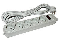 Фильтр сетевой 1.8м Maxxtro SPM5-G-6G 5 розеток, серый