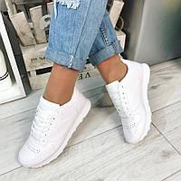 Женские кроссовки, эко кожа, подошва 2 см, белые / кроссовки для фитнеса женские, удобные и стильные