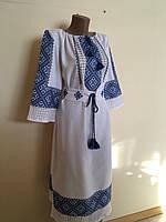 Сукня вишита ручної роботи на домотканому полотні з мережкою, фото 1