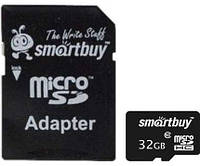 Карта памяти microSDHC, 32Gb, Class10, SmartBuy, SD адаптер (SB32GBSDCL10-01)