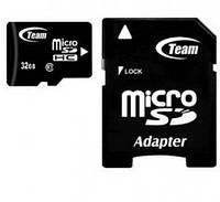 Карта памяти microSDHC, 32Gb, Class10, Team, SDадаптер (TUSDH32GCL1003)