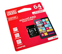 Карта памяти microSDXC, 64Gb, Class10 UHS-I, Goodram, SD адаптер (M1AA-0640R11)