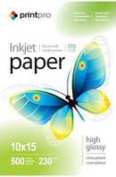 Фотобумага PrintPro глянцевая 10х15, 230г/м2; 500листов в упаковке