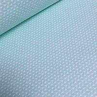Хлопковая ткань с косичками мятного цвета №3-426