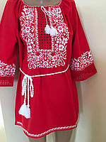 Червоне вишите плаття ручної роботи на домотканому полотні з мережкою
