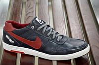 Кроссовки кеды мокасины слипоны кожа Nike мужские реплика синие с красным. Лови момент. Только 44р!