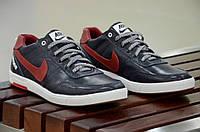 Кроссовки кеды мокасины слипоны кожа Nike мужские реплика синие с красным. Лови момент