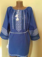 Синє вишите плаття ручної роботи на домотканому полотні з мережкою , фото 1