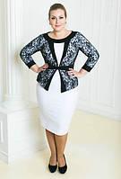 Платье миди комбинированное большого размера с имитацией жакета