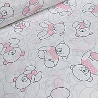 Хлопковая ткань с мишками в розовых свитерах №1-425