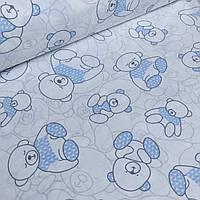 Хлопковая ткань с мишками в голубых свитерах №41