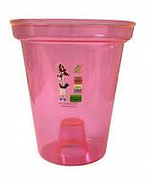 """Кашпо для орхидей """"Раунд"""" розовый высота 16см, диаметр 14см ТМ """"Эталон"""""""