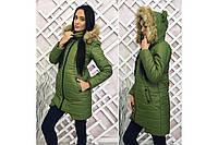 Теплое зимнее пальто-куртка дутое с красивыми ушками на капюшоне
