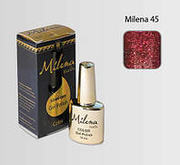 Гель-лак для ногтей «Milena» 45 красный с блестками Арго (бескислотный, гипоаллергенный, не течет)