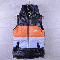 """Жилетка детская демисезонная """"Adidas"""". 4-8  лет. Темно-синяя + оранжевый. Оптом."""