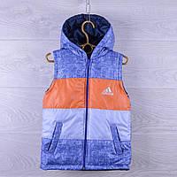"""Жилетка детская демисезонная """"Adidas реплика"""". 2-6  лет. Меланж + оранжевый. Оптом., фото 1"""