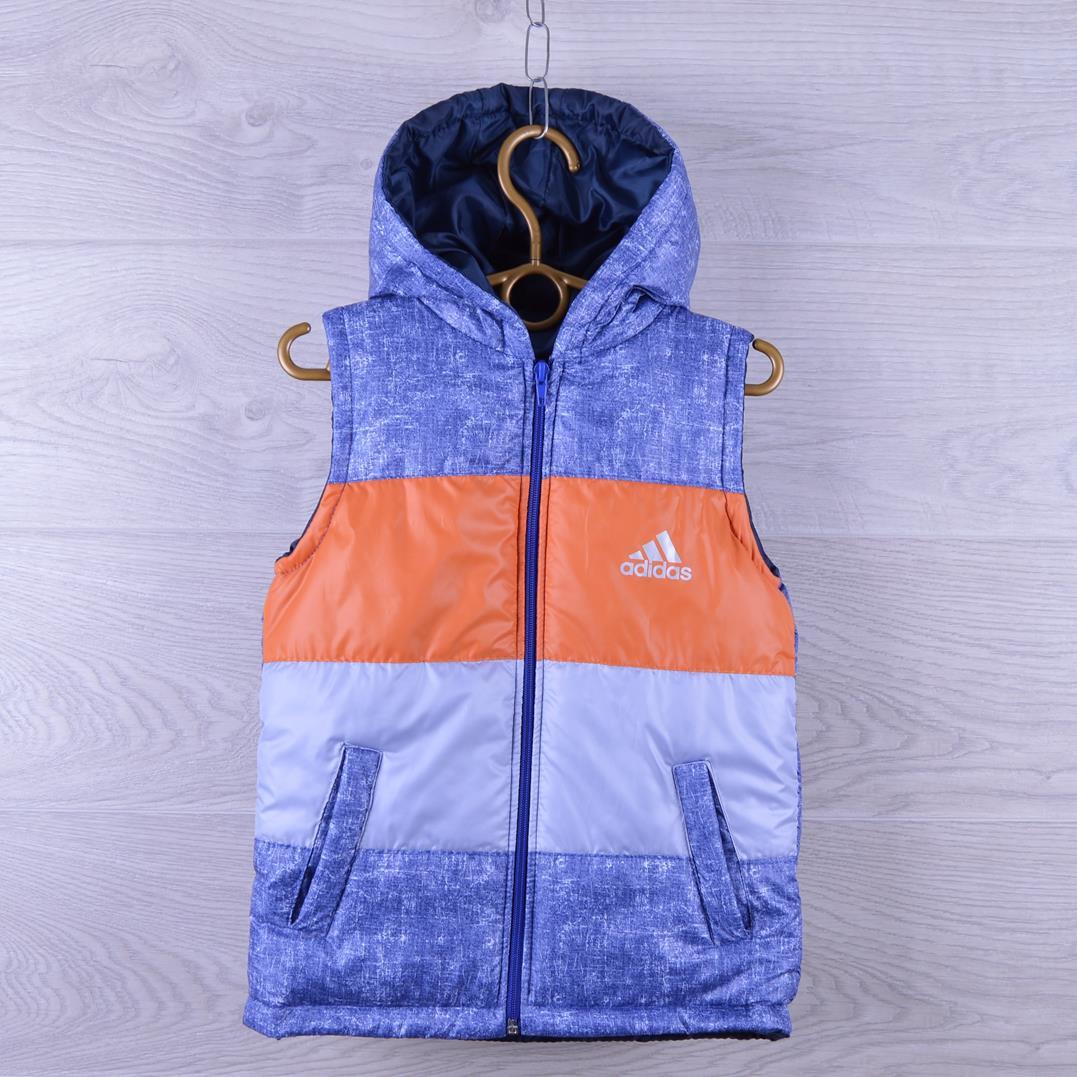 """Жилетка детская демисезонная """"Adidas реплика"""". 2-6  лет. Меланж + оранжевый. Оптом."""