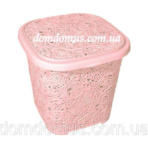 "Корзина для белья ""Ажур"" 14 л Elif Plastik, Турци, розовая"