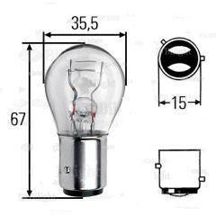 Светодиодная лампа в задний габарит/стоп сигнал с цоколем BAZ15D(1157)(P21/4W) 24W-Красный, фото 2