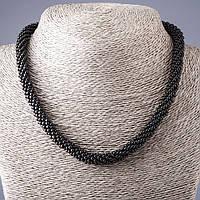 Колье бисерный жгут из черного Агата L-45-50см