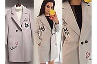 Пальто шерстяное весеннее с трендовой вышивкой
