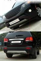 Накладки на передний и задний бампер на Kia Sorento R 2010+