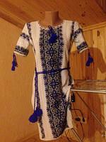 Эксклюзивное вязанное платье-вышиванка из льна р.40-44