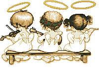 """Схема для вышивки бисером на атласе """"Небесные музыканты"""" (золото)"""