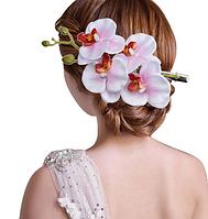 Заколка с цветами, праздничная для волос бело-розовая