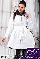 Зимняя женская куртка белого цвета с пышной юбкой (р. S, M, L) арт. 12358