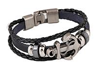 Кожаный мужской браслет с якорем