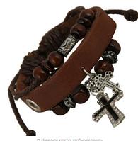 Кожаный мужской браслет с крестом коричневый